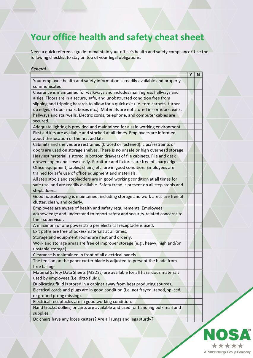 NOSA Health and safety checklist part one