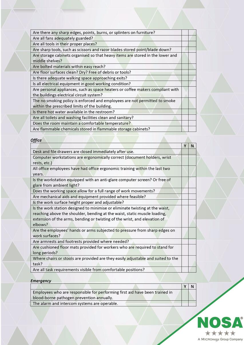 Health and safety checklist part two
