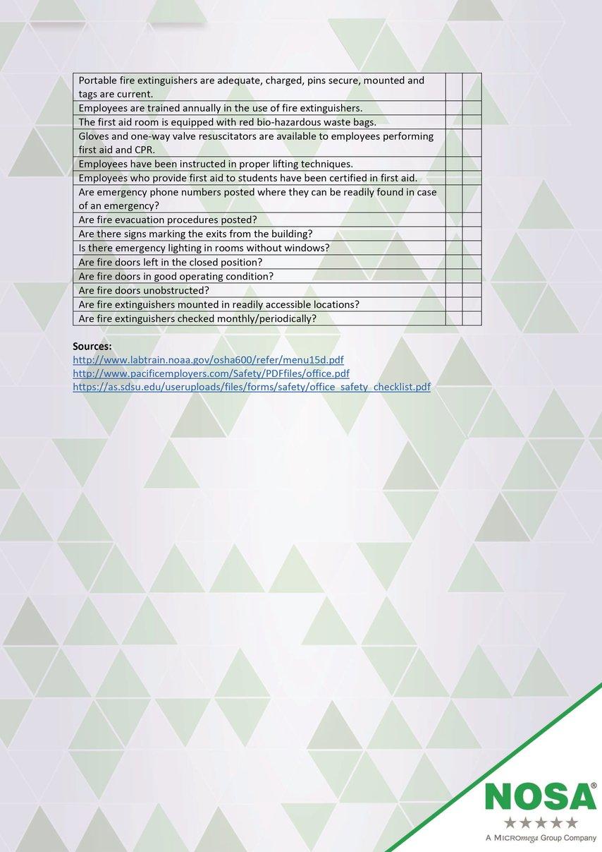 Health and safety checklist part three